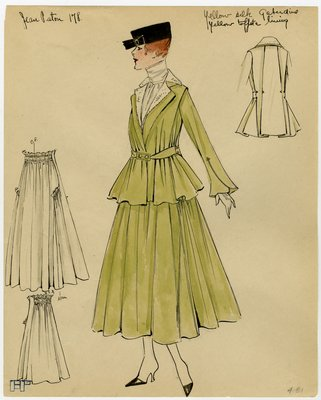 Fashion Sketch from A. Beller & Co of Patou Day Suit, circa 1916