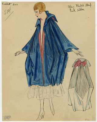 Fashion Sketch from A. Beller & Co of Callot Soeurs Evening Wrap, circa 1916