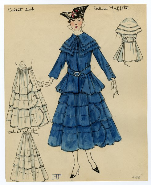 Fashion Sketch from A. Beller & Co of Callot Soeurs Jacket and Skirt, circa 1917