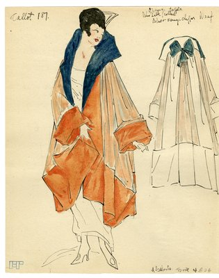 Fashion Sketch from A. Beller & Co of Callot Soeurs Evening Wrap, circa 1917
