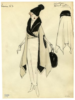 Fashion Sketch from A. Beller & Co of a Lanvin Wrap, circa 1918