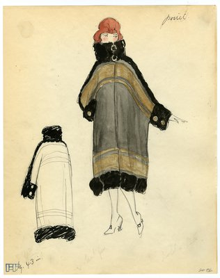 Fashion Sketch from A. Beller & Co of a Poiret Coat, circa 1920