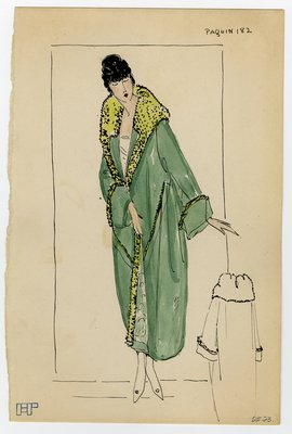 Fashion Sketch from A. Beller & Co of a Paquin Coat, circa 1923