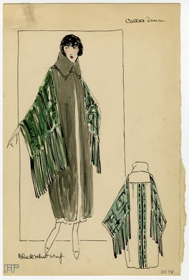 Fashion Sketch from A. Beller & Co of Callot Soeurs Wrap, circa 1921
