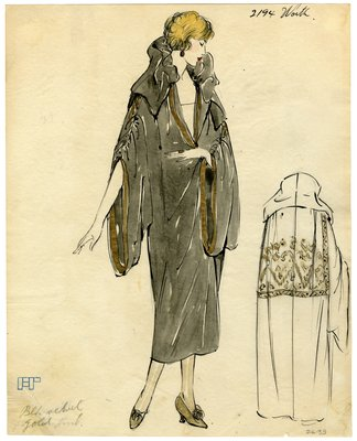 Fashion Sketch from A. Beller & Co of a Worth Coat, circa 1923
