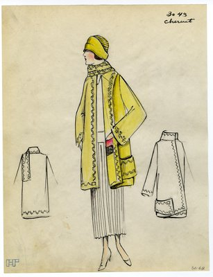 Fashion Sketch from A. Beller & Co of a Cheriut Coat, circa 1923