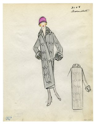Fashion Sketch from A. Beller & Co of a Doeuillet Coat, circa 1923