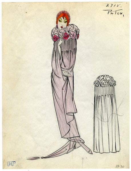 Fashion Sketch from A. Beller & Co of a Patou Cape, circa 1923
