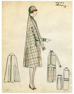Fashion Sketch from A. Beller & Co of a Lelong Cape, Blouse, and Skirt, circa 1926