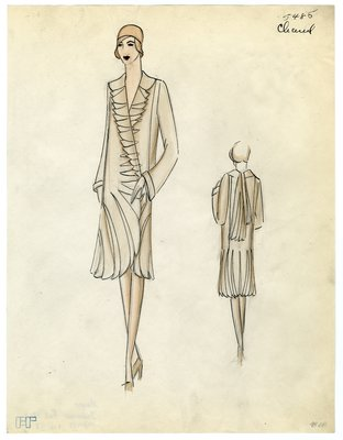 Fashion Sketch from A. Beller & Co of a Chanel Coat, circa 1929