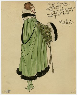 Fashion Sketch from A. Beller & Co of Erté Cape, circa 1917