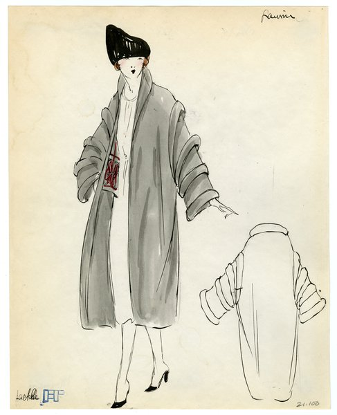 Fashion Sketch from A. Beller & Co of a Lanvin Coat, circa 1920