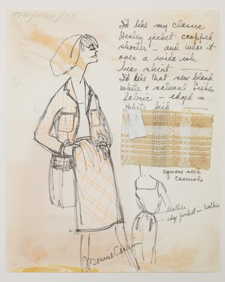Fashion Sketch from Bonnie Cashin collection of a Woman's Creme Woolen Suit, 1965