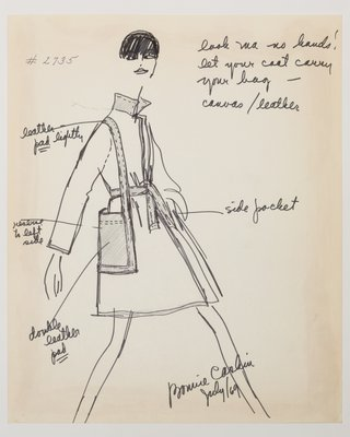 Fashion Sketch from Bonnie Cashin collection of a Woman's Leather Coat, 1969