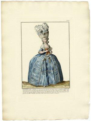 Jeune Dame Coeffée au Hérisson, Fashion Plate from Galerie des Modes et Costumes Français, Dessinés D'Après Nature, 1778-1787