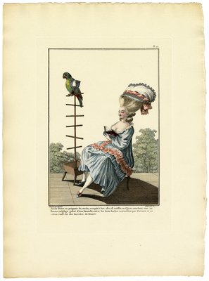 Jeune Dame en Peignoir du Matin, Fashion Plate from Galerie des Modes et Costumes Français, Dessinés D'Après Nature, 1778-1787