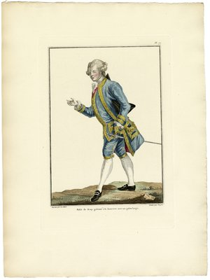 Habit de Drap Galonné à la Financiere, Fashion Plate from Galerie des Modes et Costumes Français, Dessinés D'Après Nature, 1778-1787