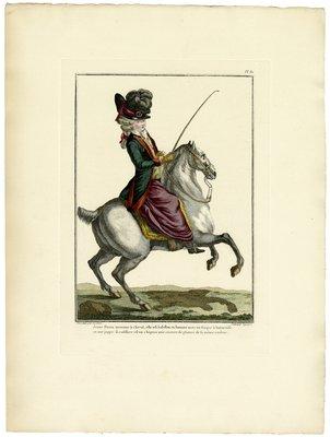 Jeune Dame Montant à Cheval, Fashion Plate from Galerie des Modes et Costumes Français, Dessinés D'Après Nature, 1778-1787