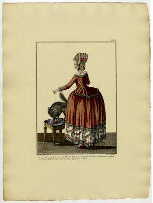Jeune Femme Vêtue d'un Caraco à la Polonoise, Fashion Plate from Galerie des Modes et Costumes Français, Dessinés D'Après Nature, 1778-1787