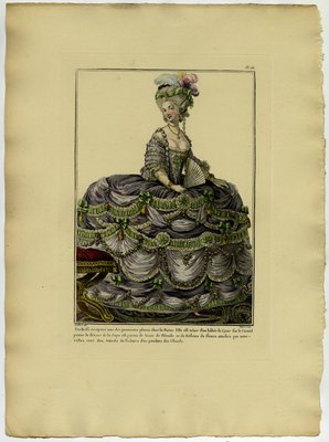 Duchess in Court Dress, Fashion Plate from Galerie des Modes et Costumes Français, Dessinés D'Après Nature, 1778-1787