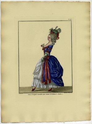 Robe à l'Anglaise Retroussée, Fashion Plate from Galerie des Modes et Costumes Français, Dessinés D'Après Nature, 1778-1787