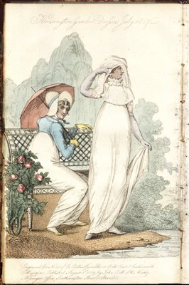 Kensington Gardens, Fashion Plate from La Belle Assemblée, or Bell's Court and Fashionable Magazine