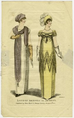 London Dresses for August, Fashion Plate Published by Vernor, Hood & Sharp