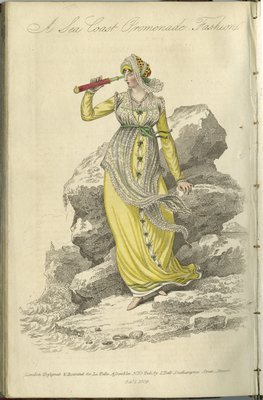 A Sea Coast Promenade Fashion, Fashion Plate from La Belle Assemblée, or Bell's Court and Fashionable Magazine