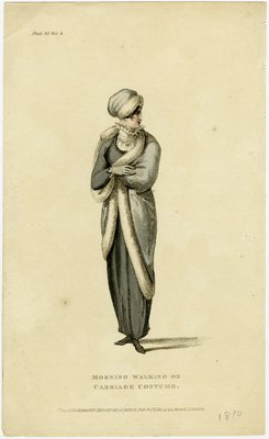 Morning Walking or Carriage Costume, Fashion Plate from Ackermann's Repository of Arts, Literature, Commerce, Manufactures, Fashion, and Politics