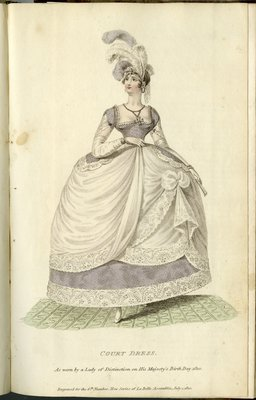English Court Dress, Fashion Plate from La Belle Assemblée, or Bell's Court and Fashionable Magazine