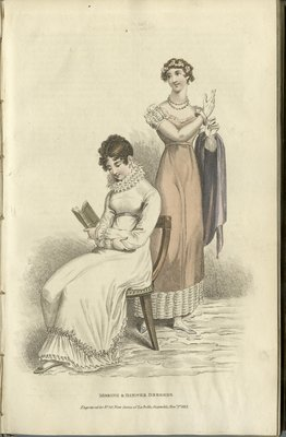 Morning & Dinner Dresses, Fashion Plate from La Belle Assemblée, or Bell's Court and Fashionable Magazine