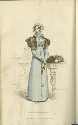 Morning Carriage Dress, Fashion Plate from La Belle Assemblée, or Bell's Court and Fashionable Magazine
