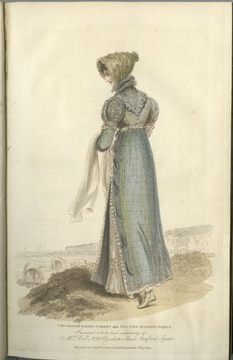 Circassian Ladies Corset and Seaside Bathing Dress, Fashion Plate from La Belle Assemblée, or Bell's Court and Fashionable Magazine