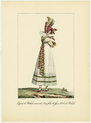 Capote de Perkale, Fashion Plate by Horace Vernet from Incroyables et Merveilleuses 1810-1818, 1955 edition