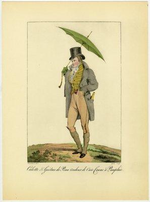 Culottes et Guètres de Peau, Fashion Plate by Horace Vernet from Incroyables et Merveilleuses 1810-1818, 1955 edition