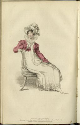 Autumnal Walking Dress, Fashion Plate from La Belle Assemblée, or Bell's Court and Fashionable Magazine