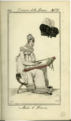 Woman in White Chemise Gown Sketching, Fashion Plate from Corriere delle Dame
