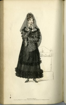 Evening Dress, Fashion Plate from La Belle Assemblée, or Bell's Court and Fashionable Magazine