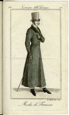Man in Long Frock Coat with Yellow Gloves, Fashion Plate from Corriere delle Dame