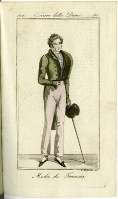 Man in Cutaway Coat with Cane, Fashion Plate from Corriere delle Dame