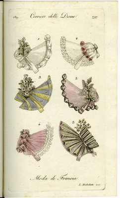 Six Bonnet Styles from 1819, Fashion Plate from Corriere delle Dame