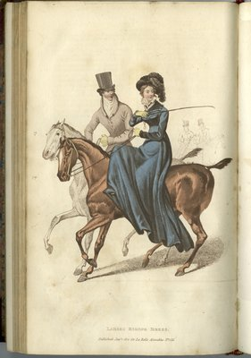 Ladies Riding Dress, Fashion Plate from La Belle Assemblée, or Bell's Court and Fashionable Magazine