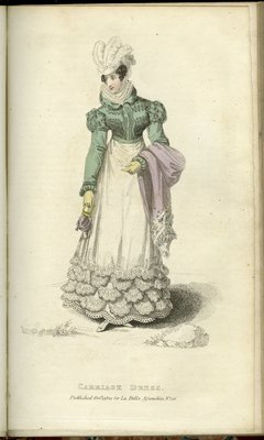 Carriage Dress, Fashion Plate from La Belle Assemblée, or Bell's Court and Fashionable Magazine