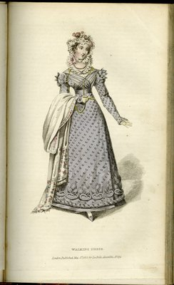Walking Dress, Fashion Plate from La Belle Assemblée, or Bell's Court and Fashionable Magazine