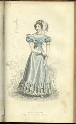 Evening Costume, Fashion Plate from La Belle Assemblée, or Bell's Court and Fashionable Magazine