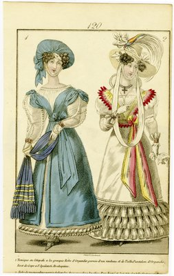 Greek Cotepati Tunic and Dress of Muslin, Fashion Plate from Townsend's Monthly Selection of Parisian Costumes