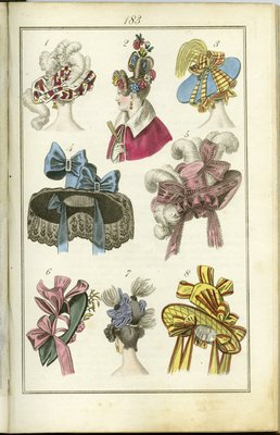 Hairstyles and Millinery of the Late 1820s, Fashion Plate from Townsend's Monthly Selection of Parisian Costumes
