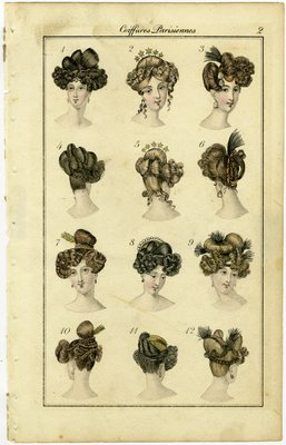 Coiffures Parisiennes, Fashion Plate from Townsend's Monthly Selection of Parisian Costumes