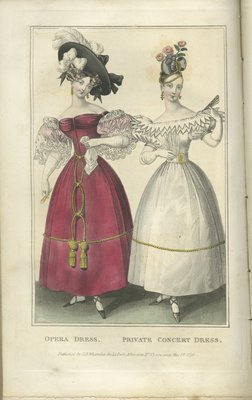 Opera Dress, Fashion Plate from La Belle Assemblée, or Bell's Court and Fashionable Magazine