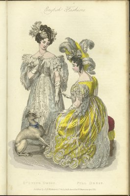 English Fashions: Evening Dress and Full Dress, Fashion Plate from La Belle Assemblée, or Bell's Court and Fashionable Magazine